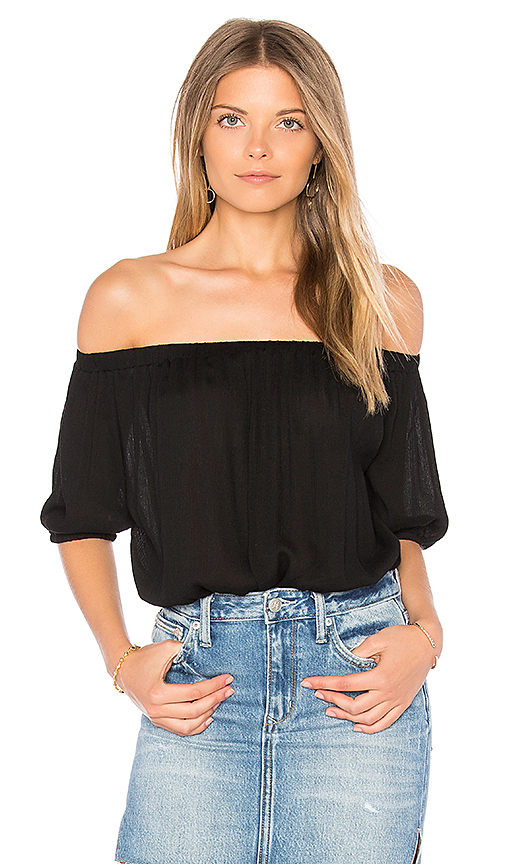 BLQ BASIQ Off Shoulder Open Back Bodysuit in Black