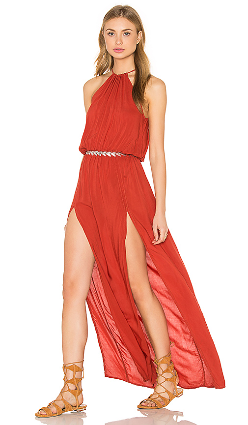 Blue Life Double Slit Maxi Dress in Red