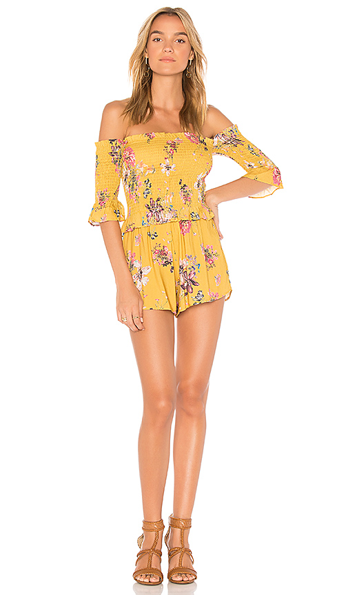 Blue Life Ruffle Romper in Yellow. - size L (also in M,S,XS)