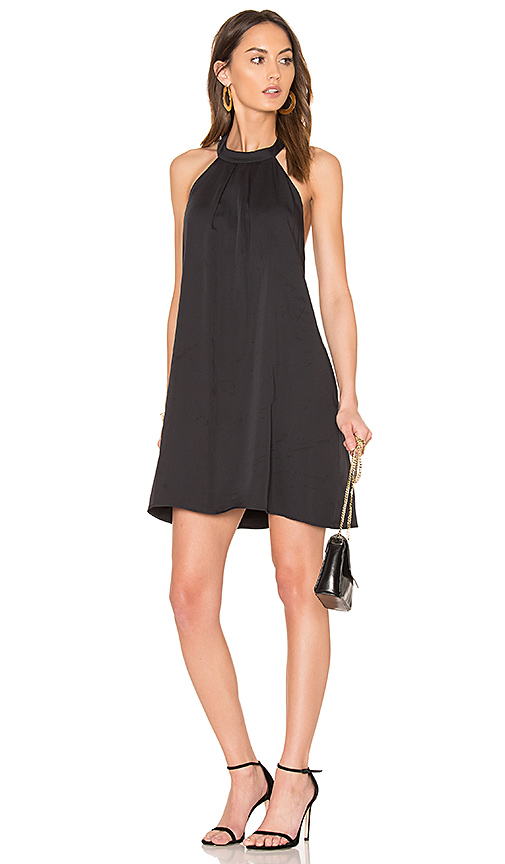 Bobi BLACK Woven Halter Dress in Black