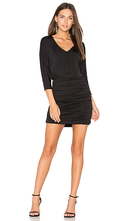 Shop Bobi BLACK Luxe Jersey Ruched Mini Dress in Black online dresses