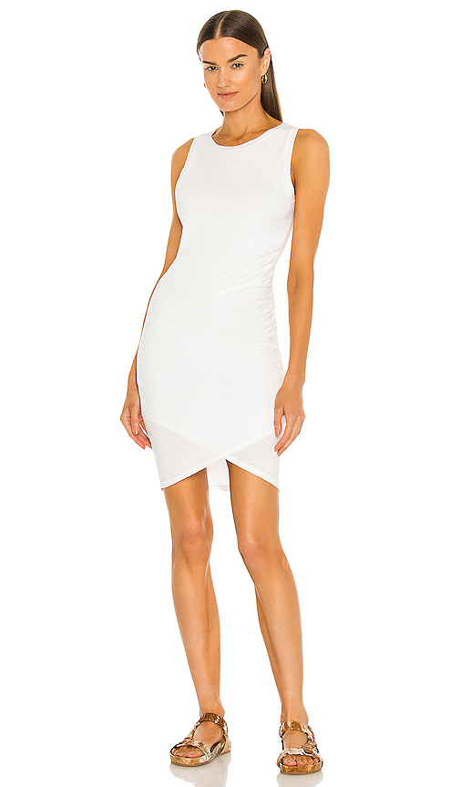 Bobi Supreme Jersey Ruched Bodycon Dress in White