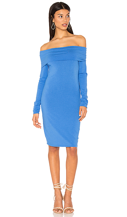 Bobi Modal Jersey Off Shoulder Mini Dress in Blue