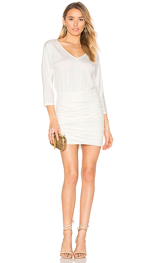Photo of Bobi BLACK Luxe Jersey Ruched Mini Dress in White - shop Bobi dresses sales