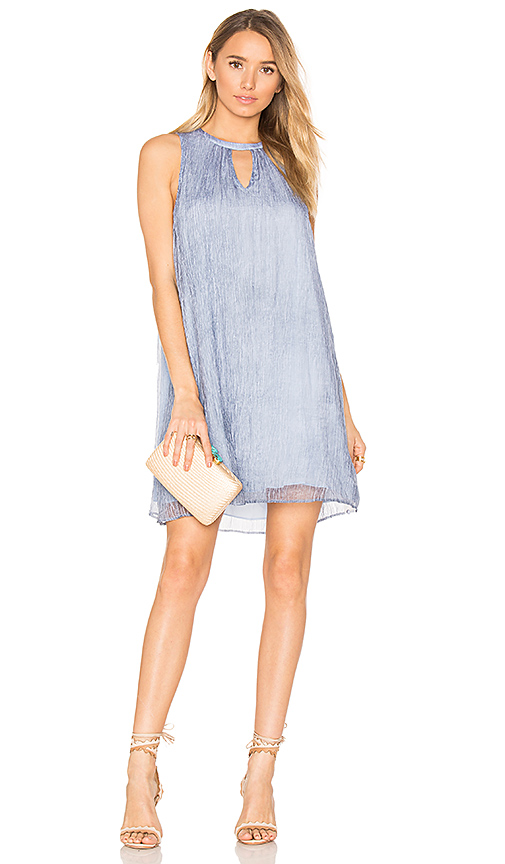 Bobi BLACK Chiffon Keyhole Mini Dress in Blue