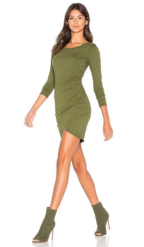 Bobi Supreme Jersey Long Sleeve Ruched Mini Dress in Green