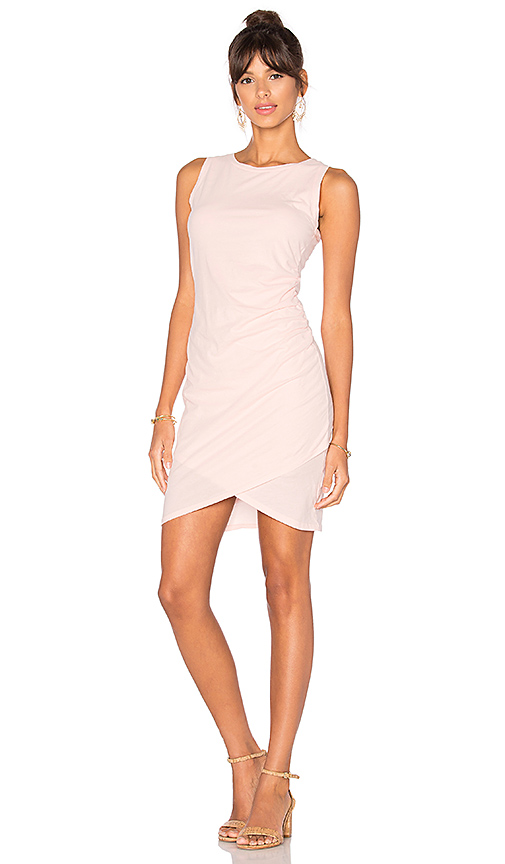 Bobi Supreme Jersey Ruched Bodycon Dress in Pink