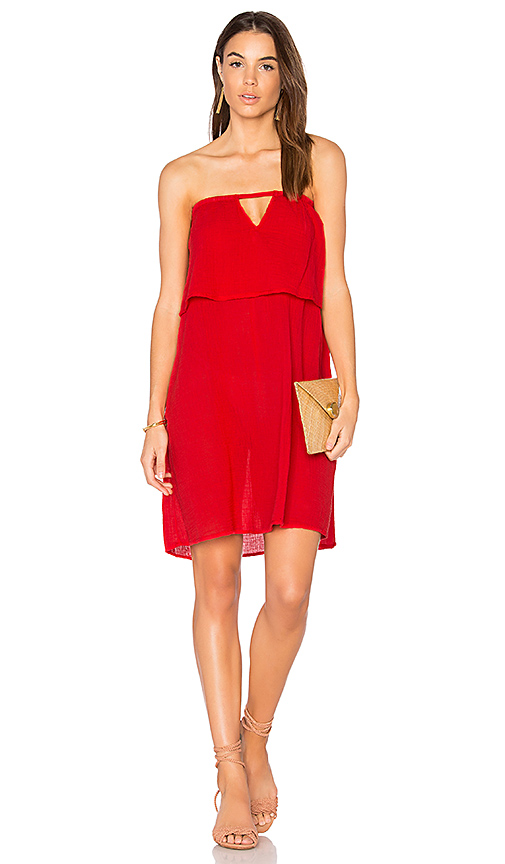 Bobi Gauze Off Shoulder Mini Dress in Red