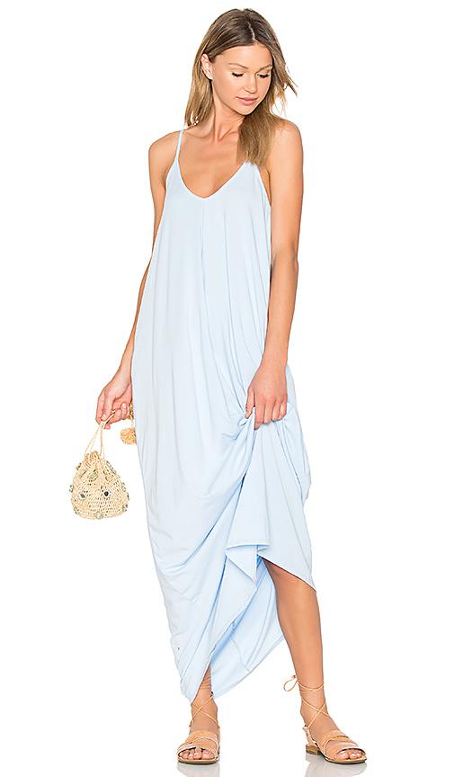 Bobi Drape Maxi Dress in Baby Blue