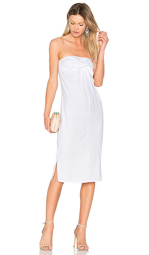 Bobi Tie Front Dress in White