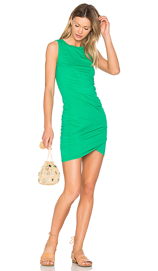 Bobi Supreme Jersey Ruched Bodycon Dress in Green