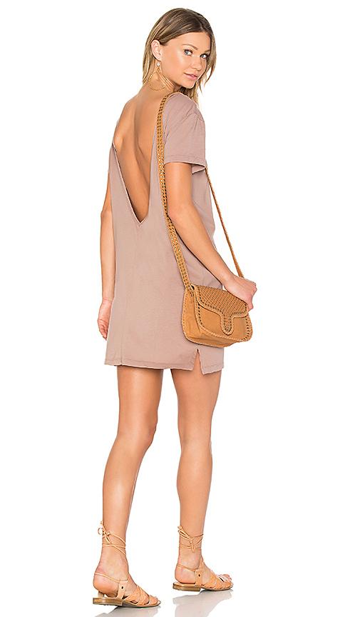 Bobi Supreme Jersey Scoop Back Shirt Dress in Brown