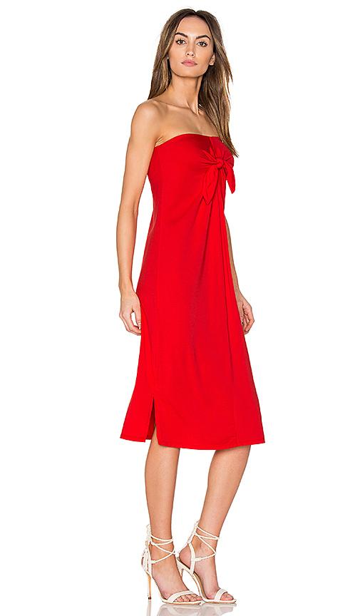 Bobi Tie Front Midi Dress in Red
