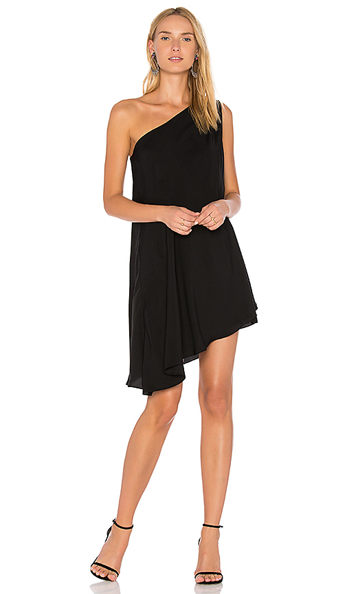Bobi BLACK One Shoulder Dress in Black