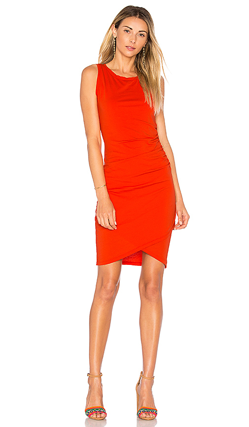 Bobi Supreme Jersey Ruched Bodycon Dress in Red
