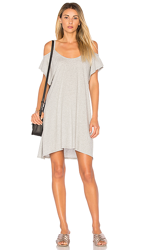 Bobi Light Weight Jersey Cold Shoulder Dress in Gray