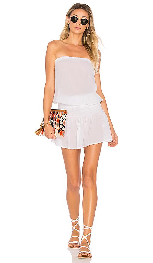 Bobi Gauze Strapless Dress in White