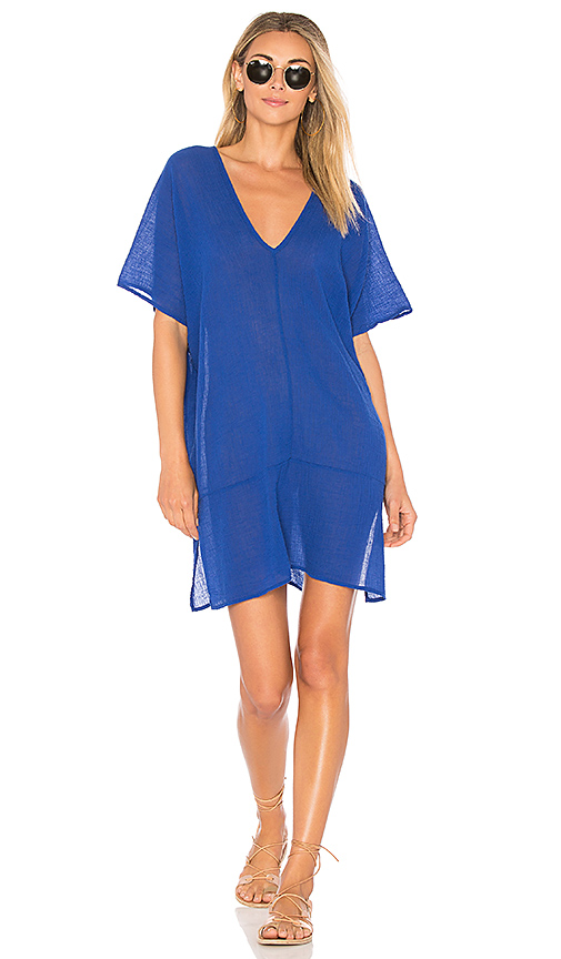 Bobi Gauze V Neck Tee Dress in Blue