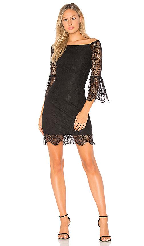 Bobi BLACK Paradise Lace Off the Shoulder Dress in Black
