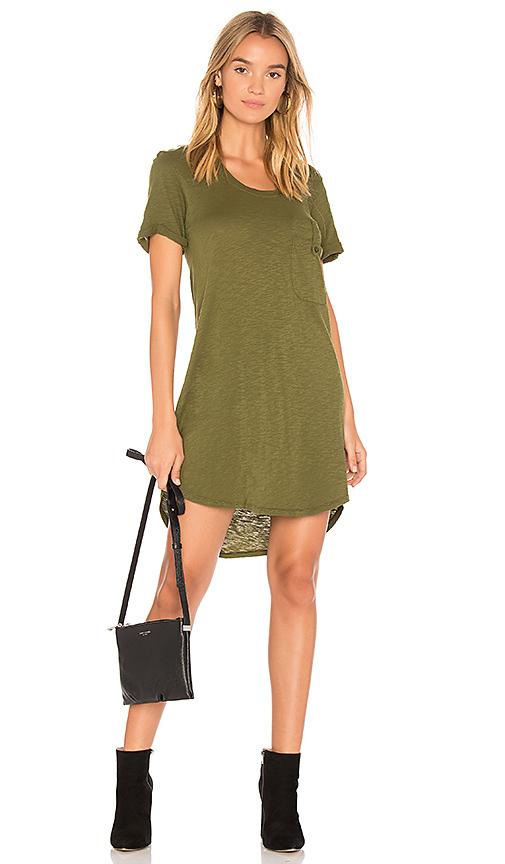 Bobi Slub Jersey T Shirt Dress in Green