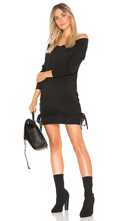 Bobi Plush Terry Lace Up Dress in Black