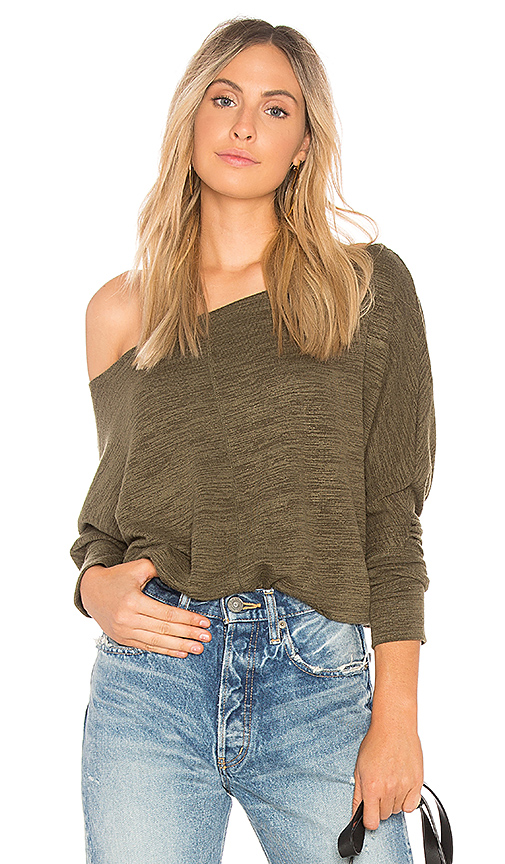 Bobi Heathered Knit Sweater in Olive