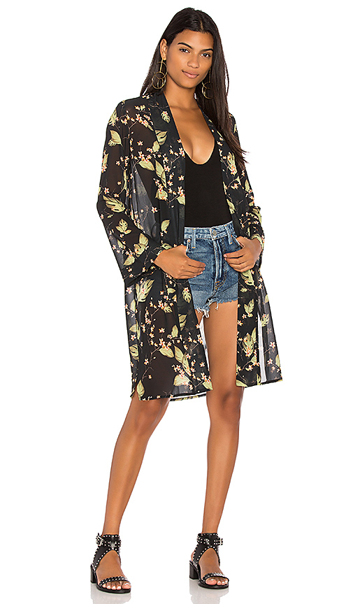 Bobi BLACK Chiffon Kimono in Black