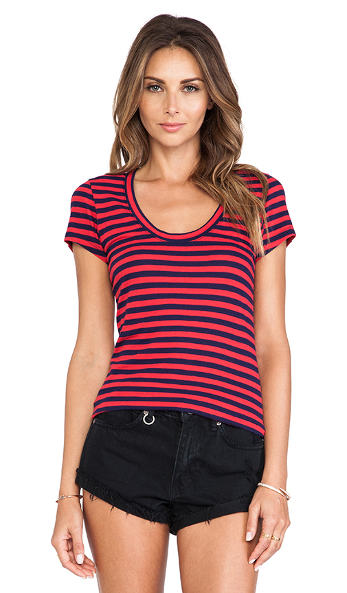 Bobi Light Weight Jersey Striped Cap Sleeve Tee in Red