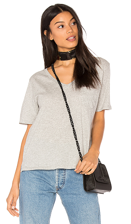 Bobi Light Weight Jersey V Neck Pocket Tee in Gray