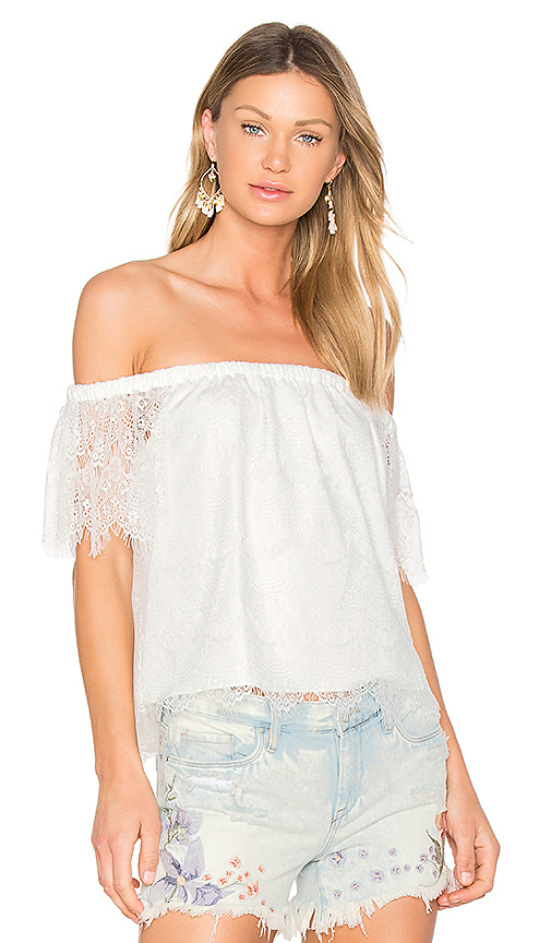 Bobi BLACK Lace Off Shoulder Top in White