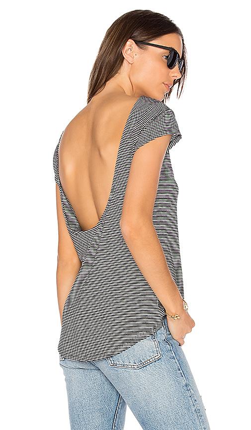 Bobi Drape Back Stripe Tee in Black & White