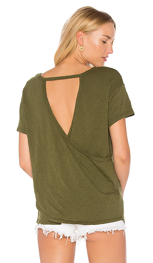 Bobi Slub Jersey Cross Back Tee in Green