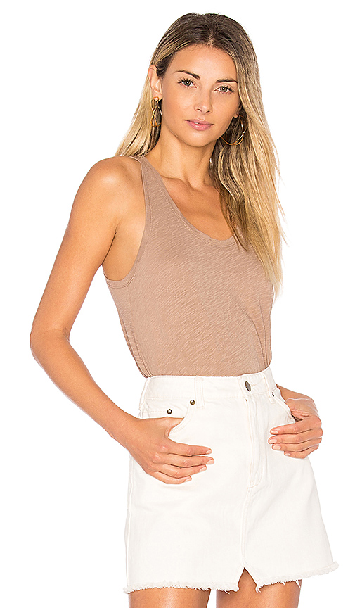 Bobi Slubbed Jersey Tank in Brown