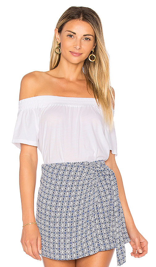 Bobi Light Weight Jersey Off the Shoulder Top in White