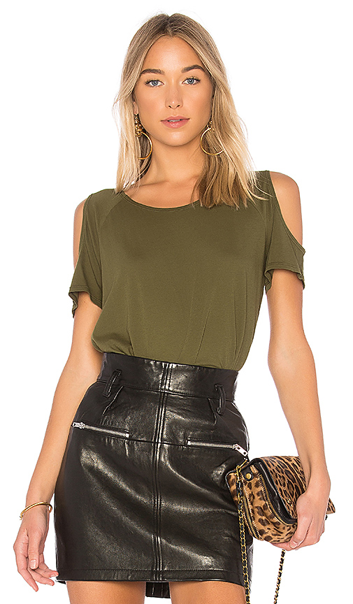 Bobi Light Weight Jersey Cold Shoulder Tee in Olive