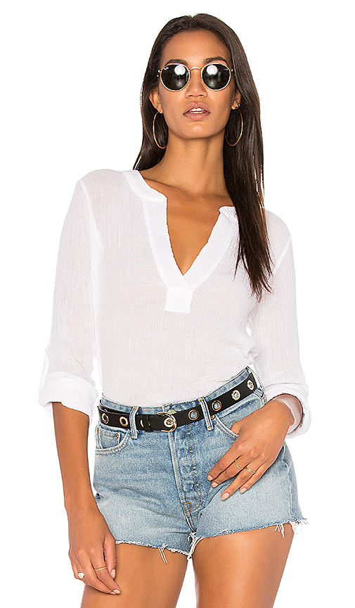 Bobi Gauze Long Sleeve Top in White
