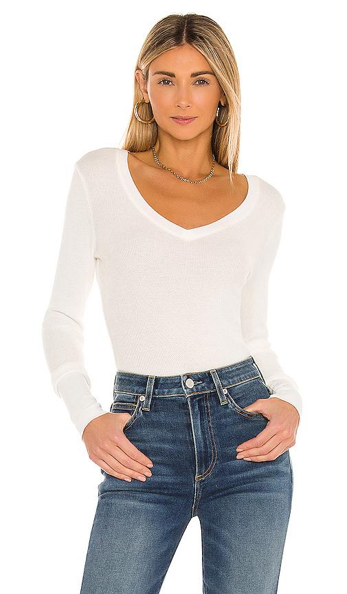 Bobi Long Sleeve Thermal V Neck Top in White
