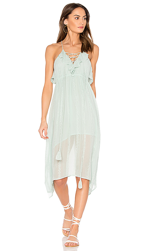 boemo Cielo Soroa Ruffle Midi Dress in Mint. - size L (also in M,S,XS)