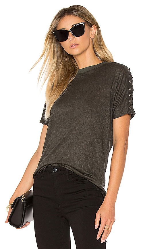 Black Orchid Shoulder Lace Down Top in Olive