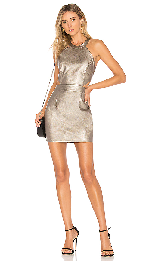 by the way. Willa Faux Leather Mini Dress in Gray