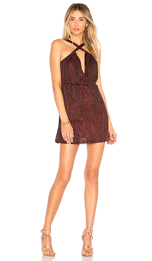 by the way. Crissy Metallic Skater Dress in Red