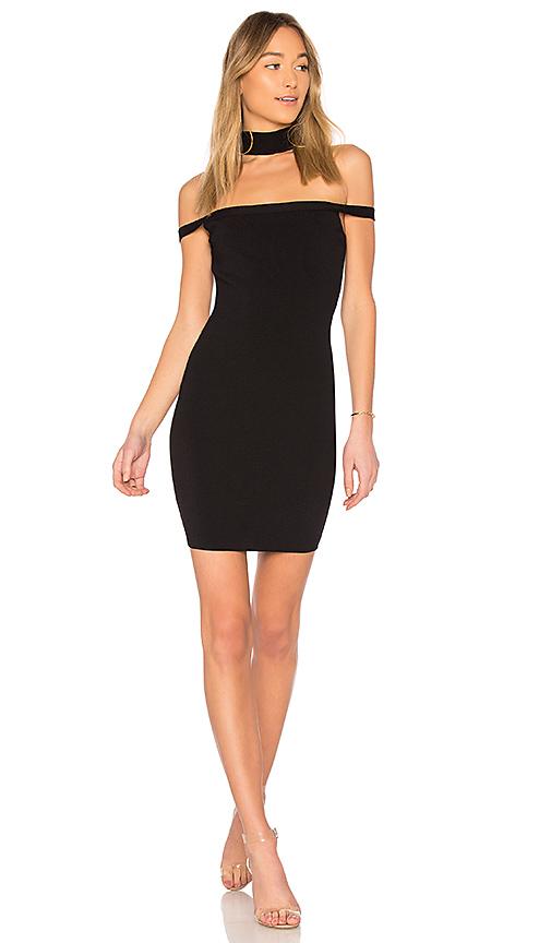 by the way Sophia Choker Knit Mini Dress in Black