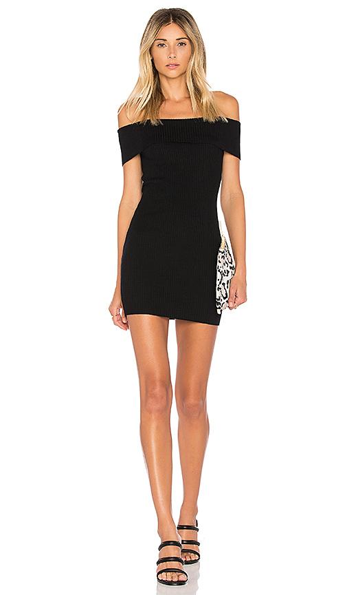 by the way Tara Off Shoulder Knit Mini Dress in Black