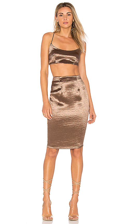 by the way Whitley Cami Midi Set in Metallic Bronze