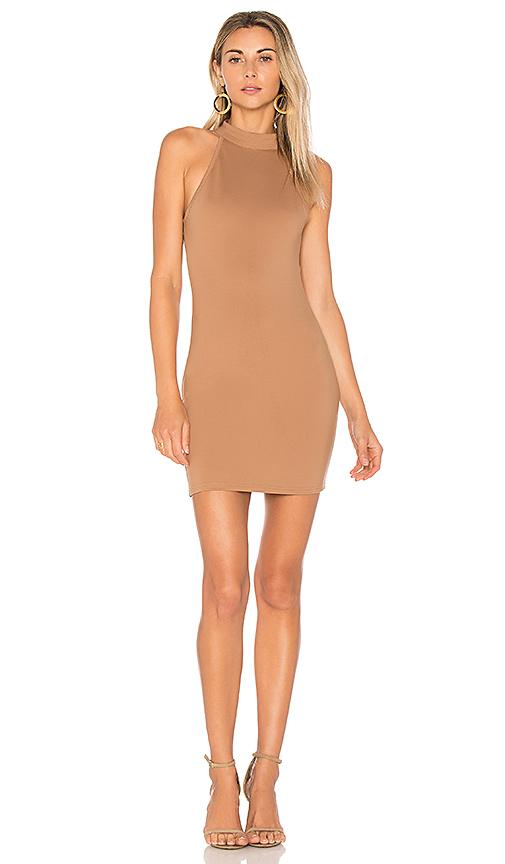 by the way Gracia Halter Bodycon Dress in Tan