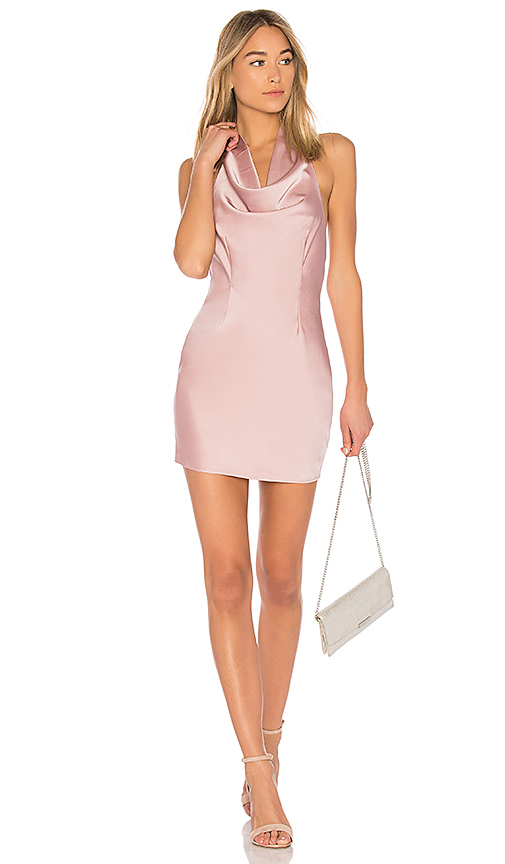 by the way Stella Drape Satin Mini Dress in Blush