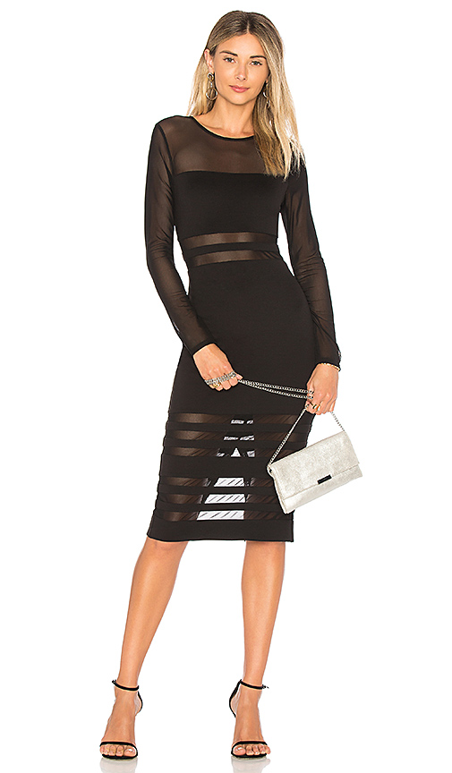 by the way. Magdalena Mesh Midi Dress in Black