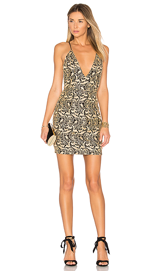 by the way. Amari Lace Mini Dress in Gold