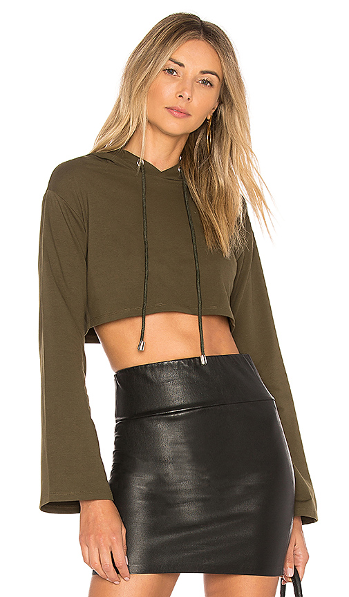 by the way. Loni Crop Hoodie in Green. - size XXS (also in L,M,S,XL, XS)