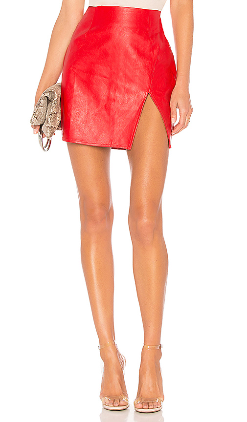 1e783fbd7 SUPERDOWN | Superdown Trinity Faux Leather Skirt in Red. - size XL (also in